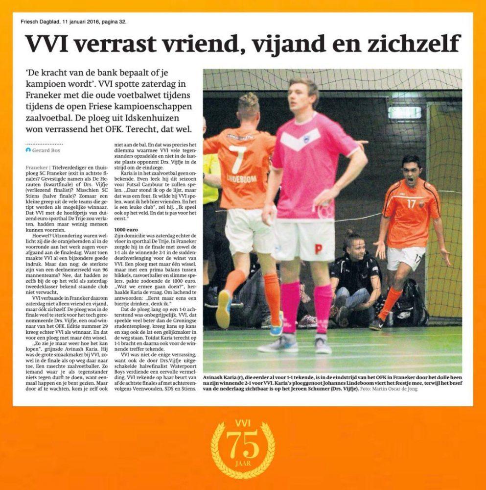 VVI 75 jaar: VVI verrast vriend, vijand en zichzelf op het OFK (jan. 2016)