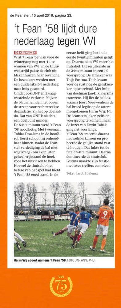 VVI 75 jaar: 't Fean '58 lijdt dure nederlaag tegen VVI (apr. 2016)
